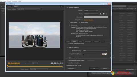 Снимка на екрана Adobe Media Encoder за Windows 10