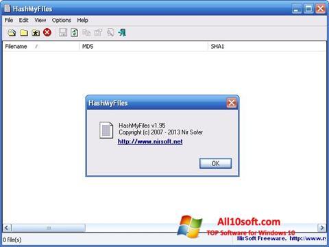 Снимка на екрана HashMyFiles за Windows 10