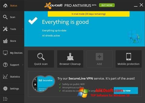 Снимка на екрана Avast! Pro Antivirus за Windows 10