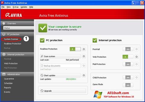 Снимка на екрана Avira за Windows 10